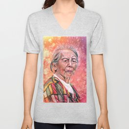 Old Woman in Pink Unisex V-Neck