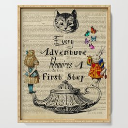 alice in wonderland quote every adventure  Serving Tray