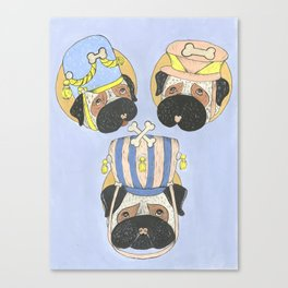Little Drummer Pugs Canvas Print