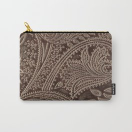 Cocoa Brown Tooled Leather Carry-All Pouch