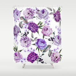 Elegant Girly Violet Lilac Purple Flowers Shower Curtain