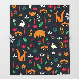 Cute little animals among flowers Throw Blanket