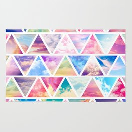 Pink Clouds Teal Sky Abstract Triangles Pattern Rug