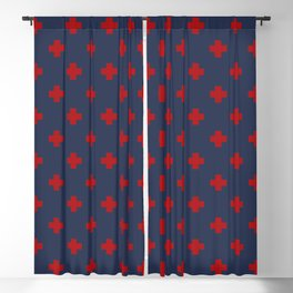 Red Swiss Cross Pattern on Navy Blue background Blackout Curtain