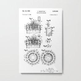 Curta Mechanical Calculator Patent Drawing (1 of 3) Metal Print