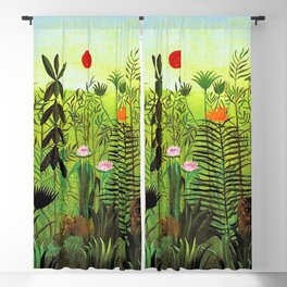 Exotic Jungle Landscape with Lion and Lioness by Henri Rousseau Blackout Curtain
