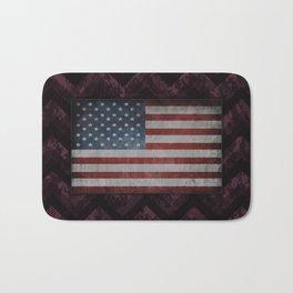 Eggplant Purple Digital Camo Chevrons with American Flag Bath Mat