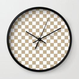 Small Checkered - White and Khaki Brown Wall Clock