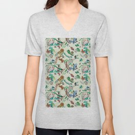 illustrations of wild animals and plants with light background Unisex V-Neck