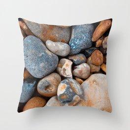 sea stones form pebbles surface Throw Pillow