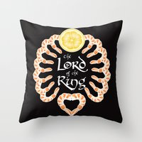 lord of the ring Throw Pillows featuring Lord of the Shrimp Ring by LucyDynamite