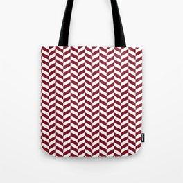 Burgundy Red Herringbone Pattern Tote Bag