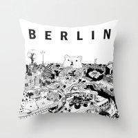 berlin Throw Pillows featuring Berlin by Javier Medellin Puyou aka Jilipollo