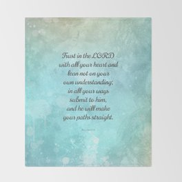 Proverbs 3:5-6, Encouraging Bible Quote Throw Blanket