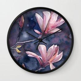 Winter Magnolia, watercolor artwork Wall Clock