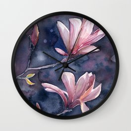 Winter Magnolia, watercolor artwork Wall Clock