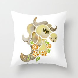 Horse Pony Carousel Watercolor Floral Yellow Brown White Background Throw Pillow