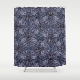 Feathers and bones-the blues Shower Curtain