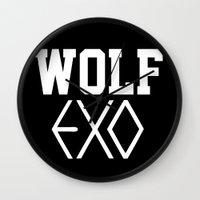 exo Wall Clocks featuring EXO  Wolf by Sara Eshak