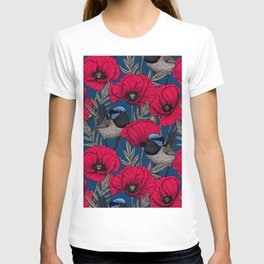 Fairy wren and poppies T-shirt