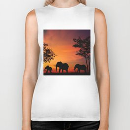 Elephants in the African sunset Biker Tank
