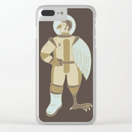 Bird Man Astronaut Clear iPhone Case