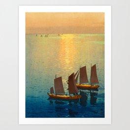 Hiroshi Yoshida Vintage Japanese Woodblock Art Ocean Sunset Sailboat Orange Blue Color Hues Art Print