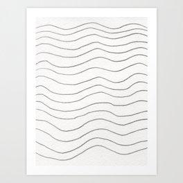 Graphite Waves Art Print