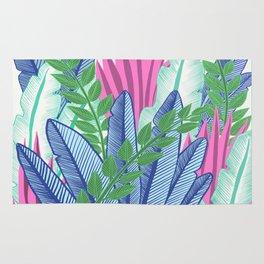 Modern Tropical Plants - Cool tones Rug