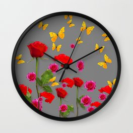 RED &  FUCHSIA PINK ROSES YELLOW BUTTERFLIES ABSTRACT Wall Clock