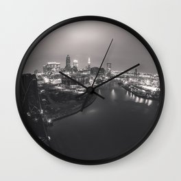 Skyline in Black and White Wall Clock