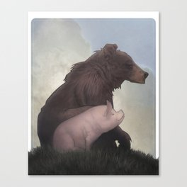 Bear and Pig Canvas Print