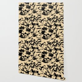 Beige Yellow Black Abstract Military Camouflage Wallpaper