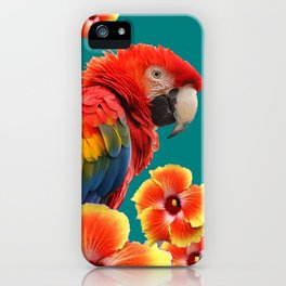 TEAL TROPICAL RED-YELLOW HIBISCUS FLOWERS & BLUE MACAW PARROT iPhone Case