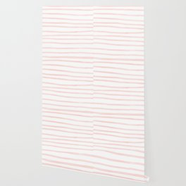 Seashell Pink Watercolor Stripes Wallpaper
