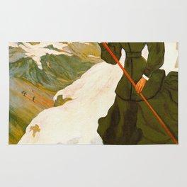 Vintage Chamonix Mont Blanc France Travel Rug