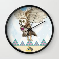 journey Wall Clocks featuring Journey by Jo Cheung Illustration