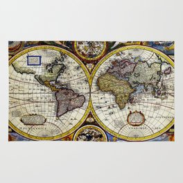 Vintage Map of The World (1626) - Stylized Rug