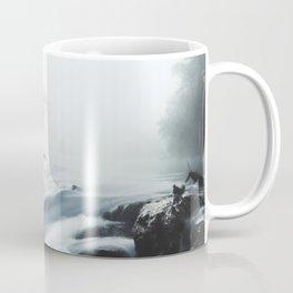 Cascade waterfall on foggy mystical morning Coffee Mug