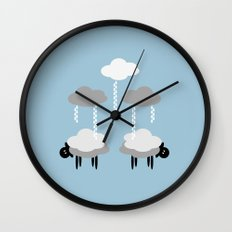 Wooly weather - Sheep Rain Clouds Wall Clock