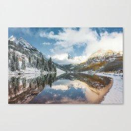 Maroon Bells Snowy Autumn Mountain Landscape - Aspen Colorado Canvas Print