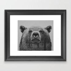 BW Bear Framed Art Print