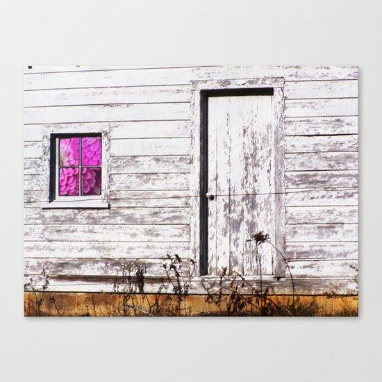 Siler City Barn with Zinnia  Canvas Print