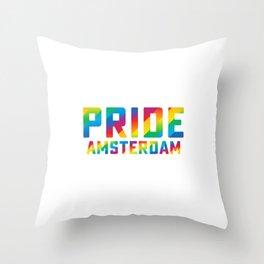 Pride Amsterdam Gay Pride Rainbow Colors Homosexual Humor Pun Design Cool Gift Throw Pillow