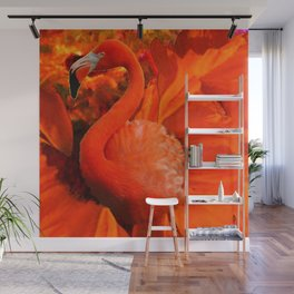 Tropical Saffron Flamingo Orange Floral Fantasy Painting Wall Mural