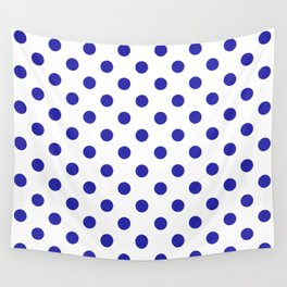 Polka Dots (Navy & White Pattern) Wall Tapestry