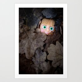Happy doll in autumn leaves, oil painting effect Art Print