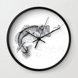 Big Mouth Bass Fish and Lure Wall Clock
