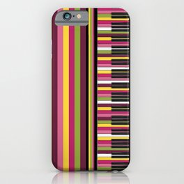 Colorful Retro Piano Keyboard with Gelato Stripes Artwork  iPhone Case