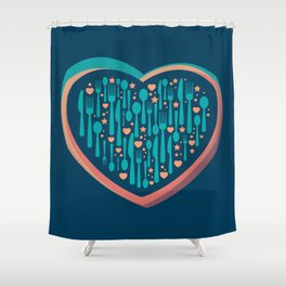 the love of food and happiness Shower Curtain